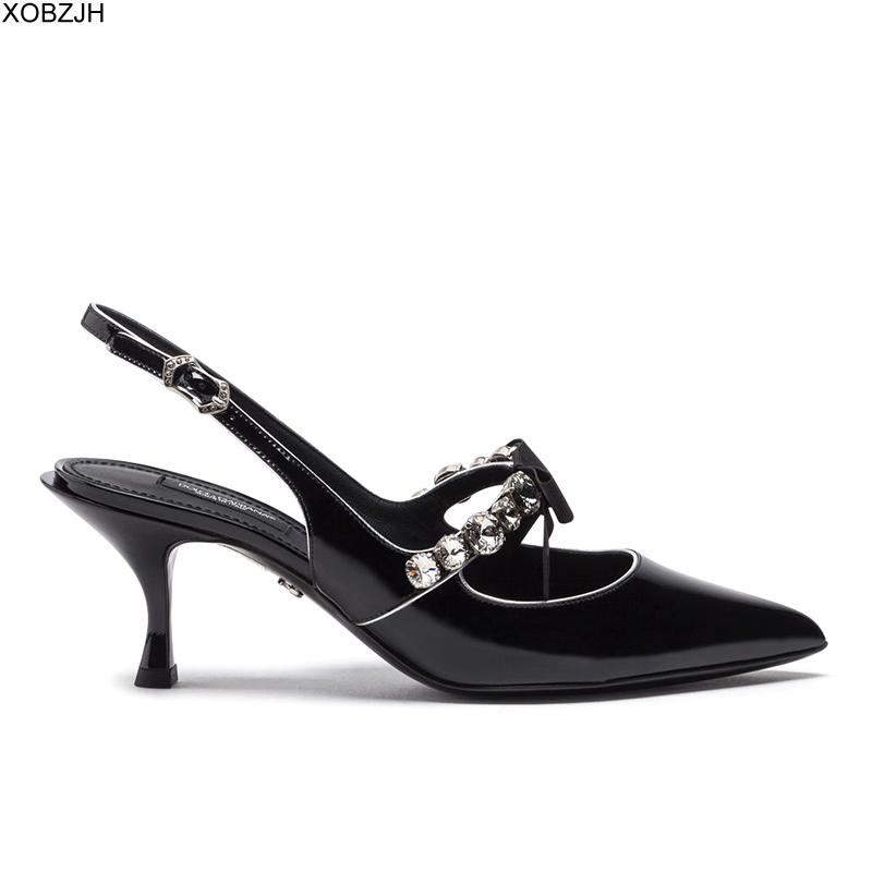 Italian Designer Office Shoes Women Heels 2019 Luxury Brand Lady Pumps Leather Rhinestone Sandals Mary Jane Shoes Woman Lace Up