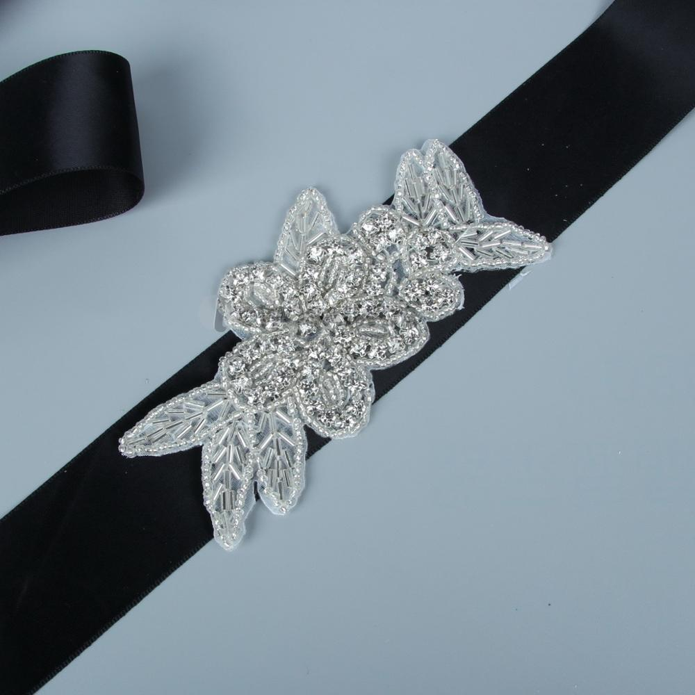 Apparel Accessories Bridal Belt Crystal Rhinestones Ribbon Silver Rhinestone Wedding Belt And Sash Beads For Wedding Dress Gown Lc1055