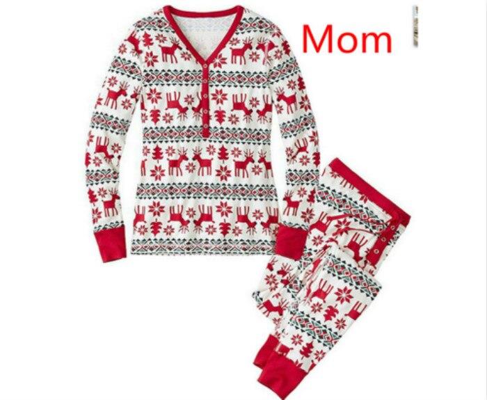 Семейный Рождественский пижамный комплект; одежда для мамы и ребенка; свитер с длинными рукавами и принтом+ штаны; комплект из 2 предметов; Семейные комплекты - Цвет: Mom