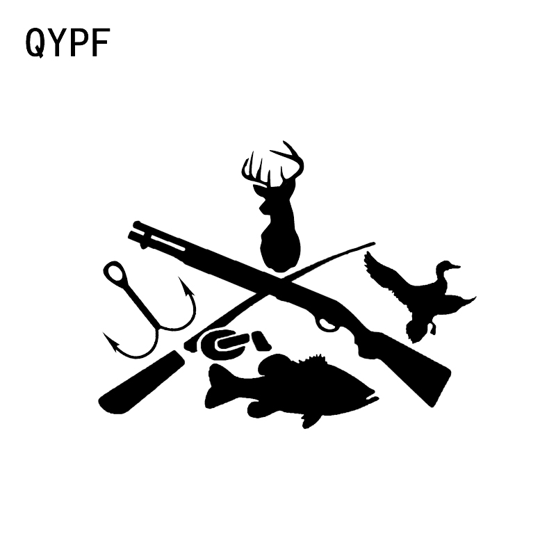 QYPF 14.9*11.4CM Fashion Fishing Hunting Archery Decor Car Modelling Sticker Bumper Window C16-1779