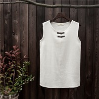 Cotton Sleeveless Chinese Style Women Tank Top Solid White Red Yellow Blue Summer Casual Tank Top