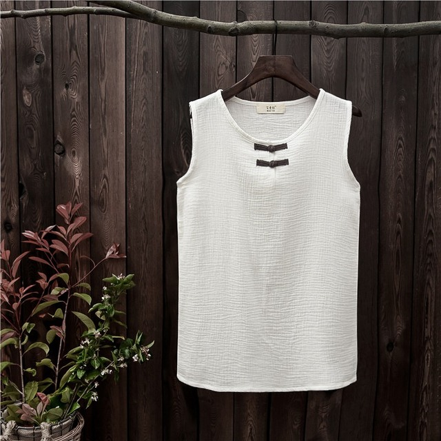 d7135e0e2890aa Cotton Sleeveless Chinese style Women Tank top Solid White Red Yellow Blue  Summer Casual Tank top