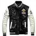 Бейсбол Кожаная Куртка Мужчины Черный Белый Колледж Jaqueta Couro Мужская PU Кожаная Куртка Высокого Качества Осень Зима Пальто