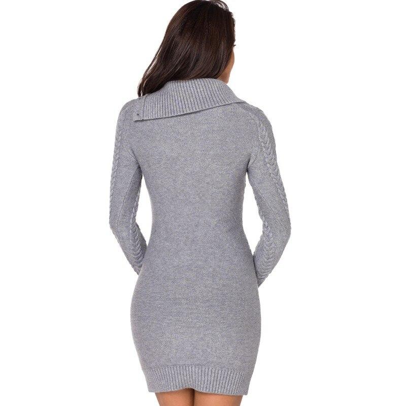8f5c104dda6 Asymmetric Buttoned Collar Grey Blue Black Bodycon Sweater Dress Knit  Fabric Long Sleeve Mini Dress Ladies Sexy Clubwear AL27864-in Dresses from  Women s ...