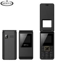SERVO 2017 Flip Téléphone 1.77 «Spreadtrum6533 Double Carte SIM Téléphone Portable GSM Vibrations Extérieur FM Radio Russe clavier Mobile téléphones