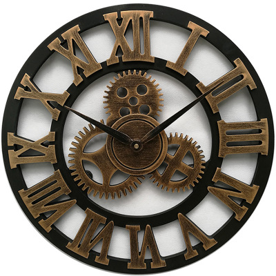 Handmade Oversized 3D Retro Rustic Decorative Art Big Gear Wooden Vintage Large Wall Clock DIY Party