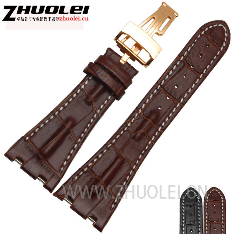 Quantidade elevada faixa de relógio 28mm Fit AP preto | brown | gary Genuína Banda Pulseira de Couro Do Couro + Dobrável pulseira de fecho Para homens AP