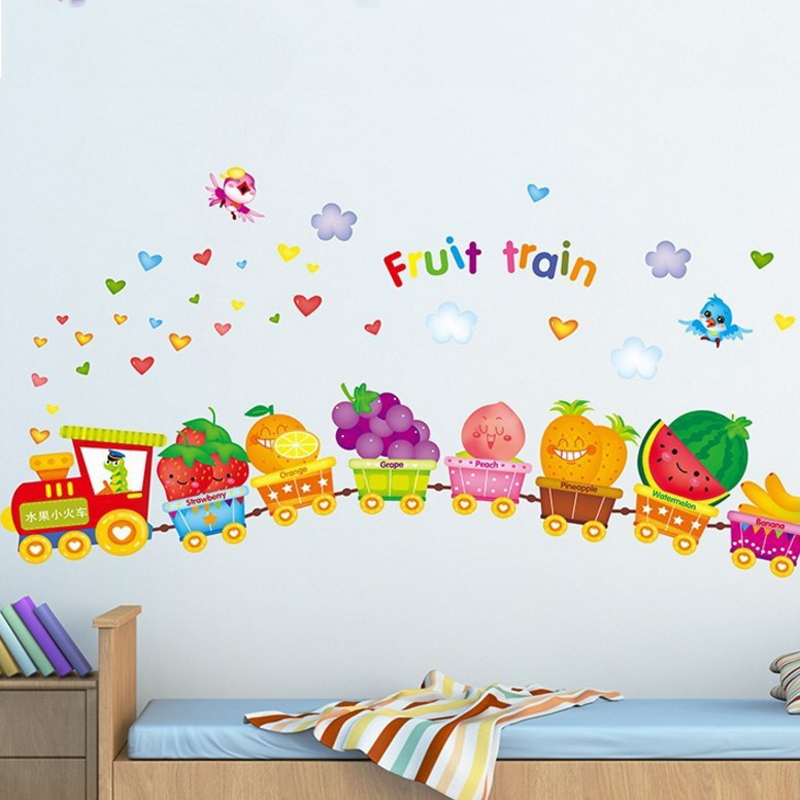 US $2.63 8% OFF|Cute fruit train wall sticker for kids room removable  cartoon baby bedroom wall decal home decoration wall art-in Wall Stickers  from ...