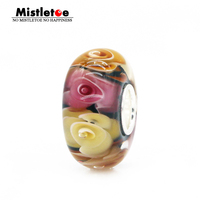 925 Sterling Silver Large Hole 3D Flowers Rose Of Mom Not Original Murano Glass Charm Bead