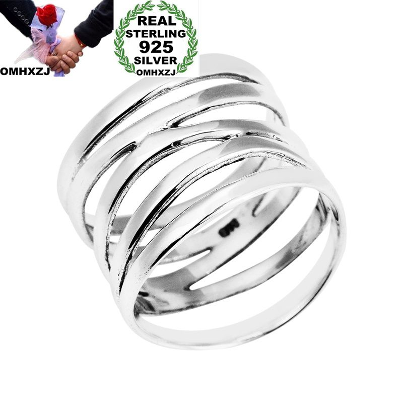 OMHXZJ Wholesale European Fashion Woman Man Party Wedding Gift Silver Fiver Circles Hollow 925 Sterling Silver Ring RR206