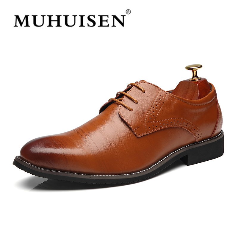 2018 Big Size 38-48 Men Formal Shoes Genuine Leather Fashion Oxford Shoes Business Mens Dress Party Shoes