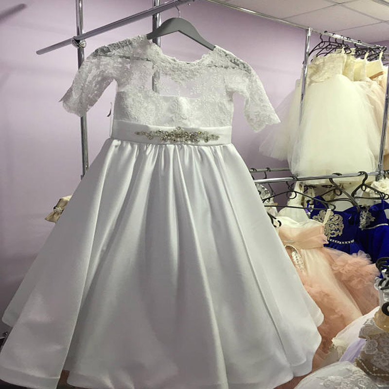 2017 Satin First Communion Dresses for Girls Long Flower Girls Dresses A-Line Ruffle Mother Daughter Dresses For Girls Party ruffle trim a line dress