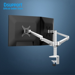 """Image 2 - OA 4S 10 27"""" Double arm dual screen desktop mount monitor holder table stand pad desk mount stand monitor bracket shelf"""