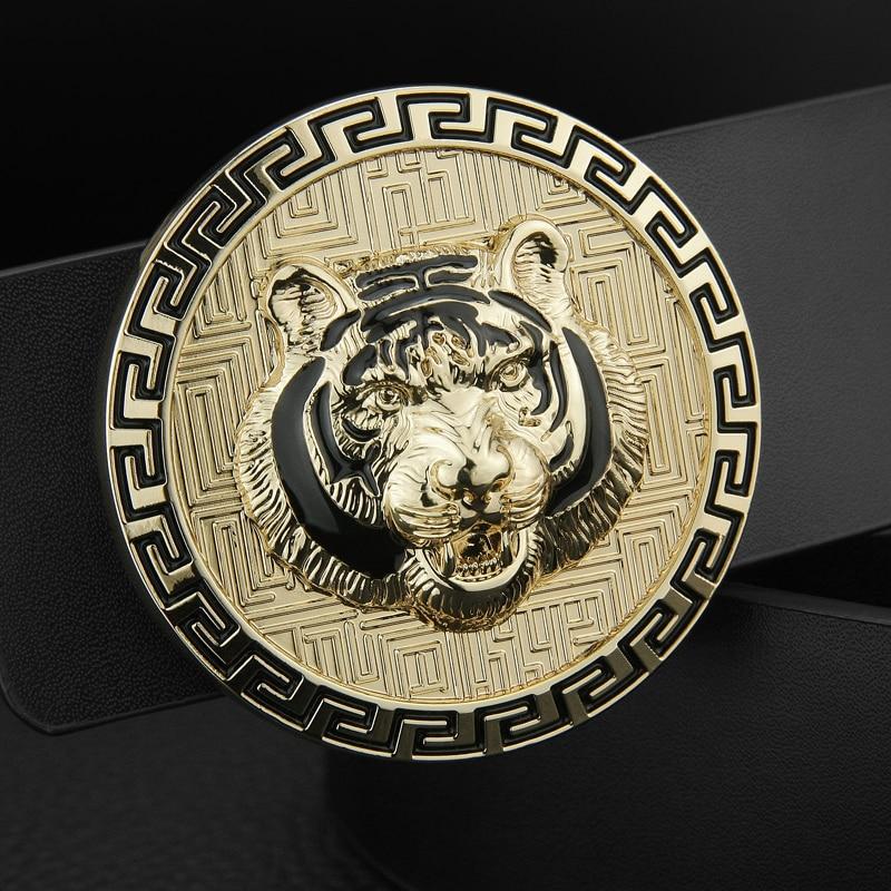 High Quality genuine leather tiger belt fashion bound buckle luxury designer belt men cowskin waist strap Casual cinto masculino
