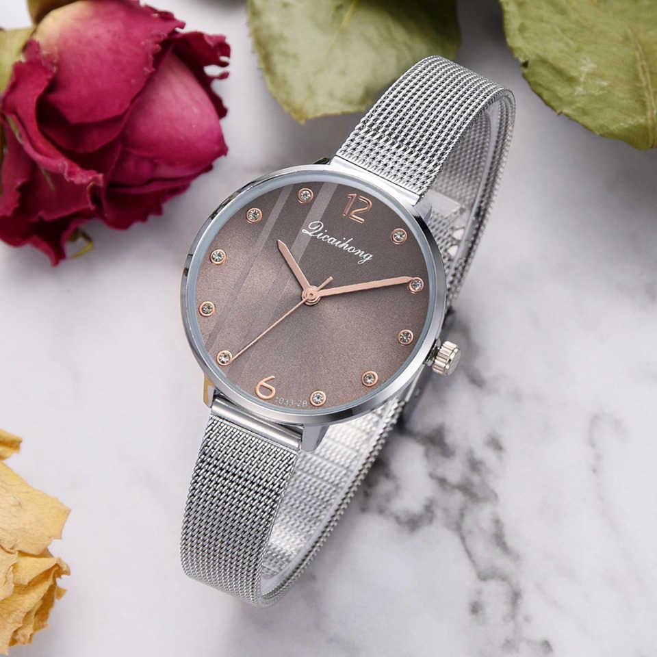 Часы для женщин Роскошные серебряные Популярные с розовым циферблатом креативный металлический женский браслет кварцевые часы женские наручные часы 2018 Новинка