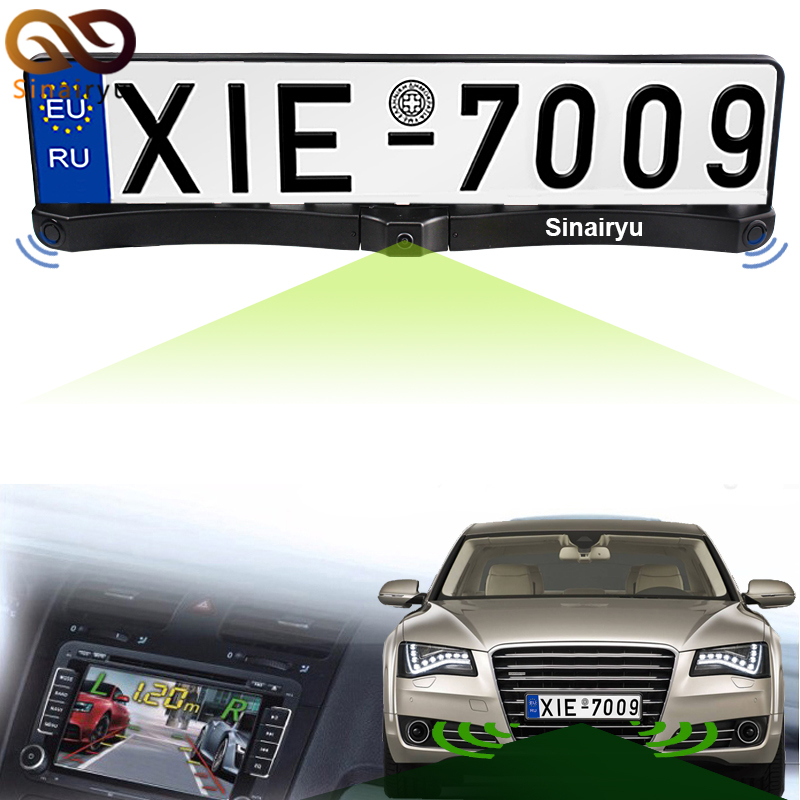 Sinairyu Auto Front / Rear <font><b>Parking</b></font> Radar Sensor + HD CCD Europe Russia License Plate Frame Car Front Camera Without <font><b>Parking</b></font> Line image