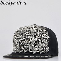Beckyruiwu Multi Types Street Hip Hop Punk Rock Rivet Snapback Hats Adult Cool Bboy Flat Hat Men Women Hand Made Baseball Cap