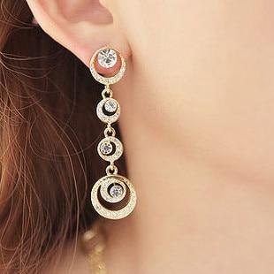 Us 3 56 Fashionable Long Rhinestone Clip On Earrings Water Droplets Moon Non Pierced Ear Unique Clips For Women In