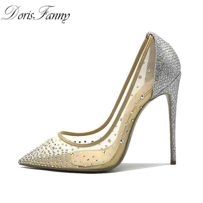 Doris Fanny Sexy chaussures femme parti bout pointu talons cristal bling argent chaussures talons hauts escarpins 12 cm chaussures de mariage 43 taille