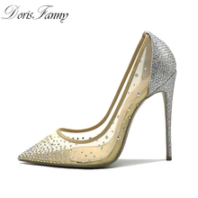 Doris Fanny Sexy shoes woman party Pointed Toe Heels Crystal bling Silver Shoes high heels pumps 12cm Wedding shoes 43 size