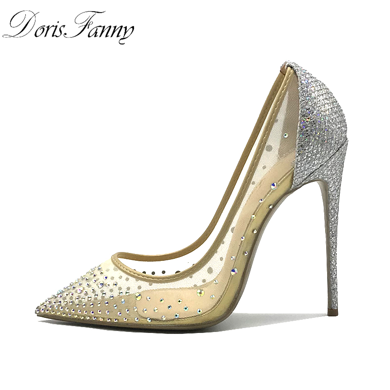 DorisFanny rhinestone Women Pointed Toe Heels Crystal bling Silver Shoes high heels pumps 12cm see through Party Wedding shoes v neck rhinestone see through blouse