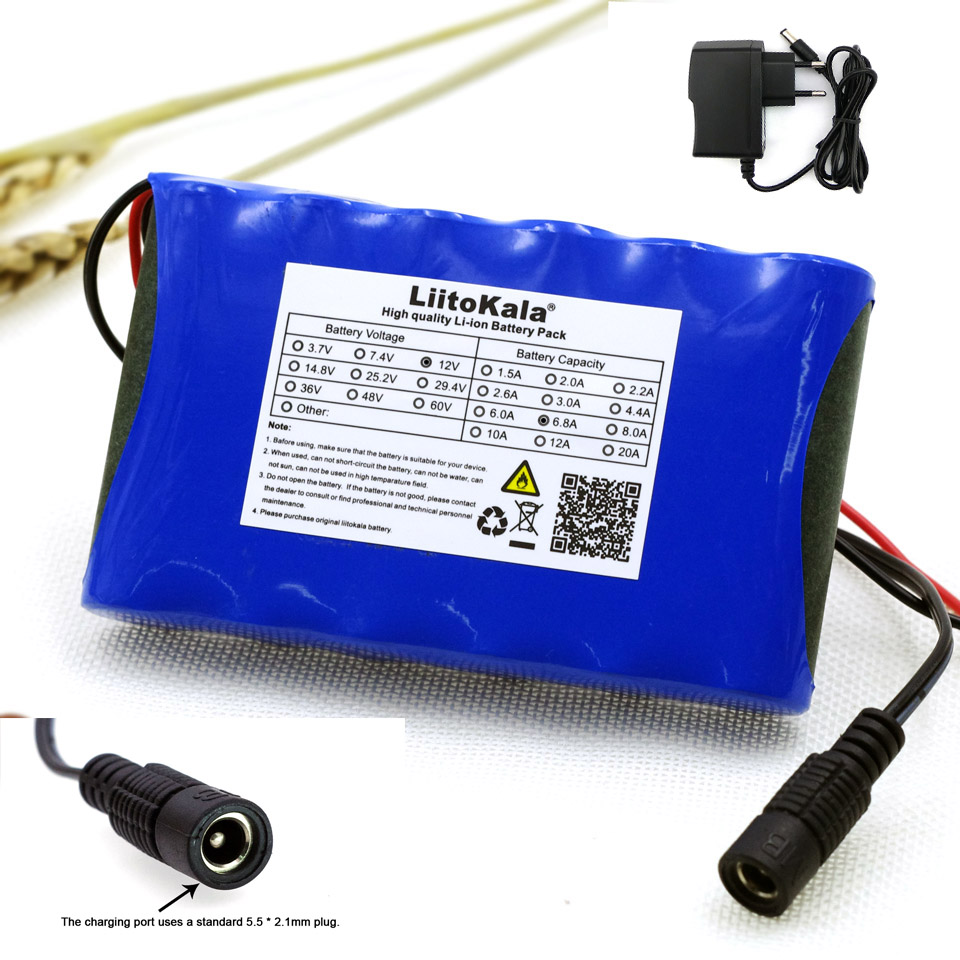 Liitokala 12 v 6.8 Ah 6800 mAh 18650 Rechargeable batteries 12.6 V PCB Batterie Au Lithium pack Protection Conseil + 12.6 V 1A Chargeur