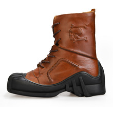 Boots Men Military Split Leather Combat Boots Skull Pattern Male Motorcycle Punk Boots Men's Shoes Rock Mid Calf 8#15/20E50 zero more army boots men high military combat boots metal buckle punk mid calf male motorcycle boots zipper men s shoes parade