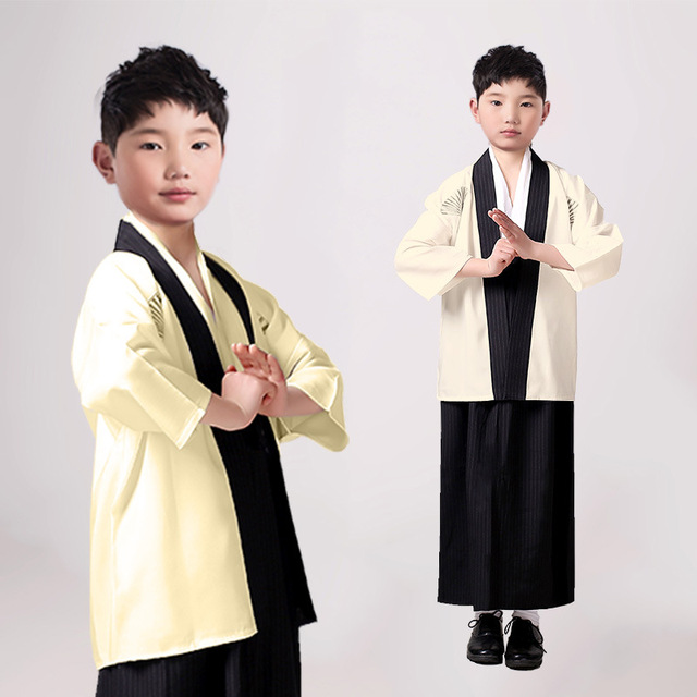 Boys Cosplay Costume Japanese Kids Kimono Yukata Traditional Samurai Robe Halloween Costumes Children Performance Clothes 1