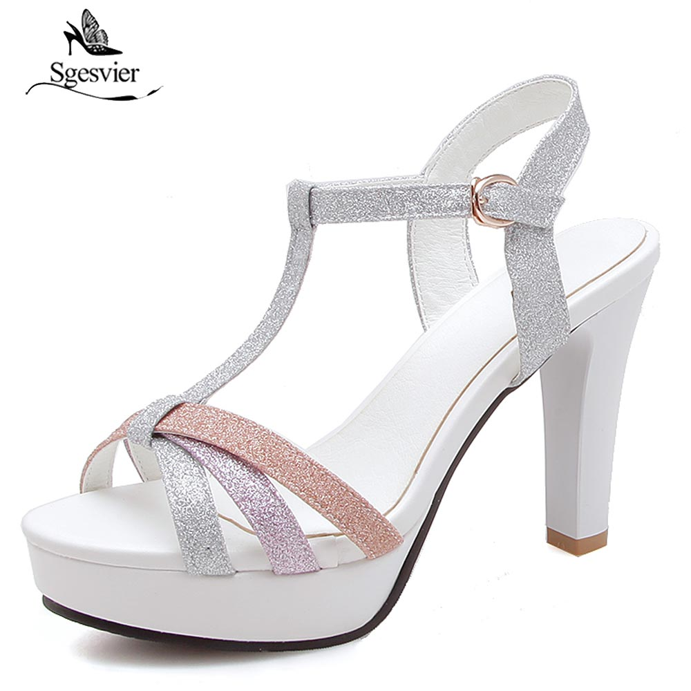 SGESVIER Plus Size 34-43 Women Sandals Platform Women Shoes Thick High Heels Sandals Summer Open Toe T-strap Ladies Shoes B45 2016 package with high heeled sandals women s shoes formal platform thick heel open toe shoe 40 43 plus size women s small yards