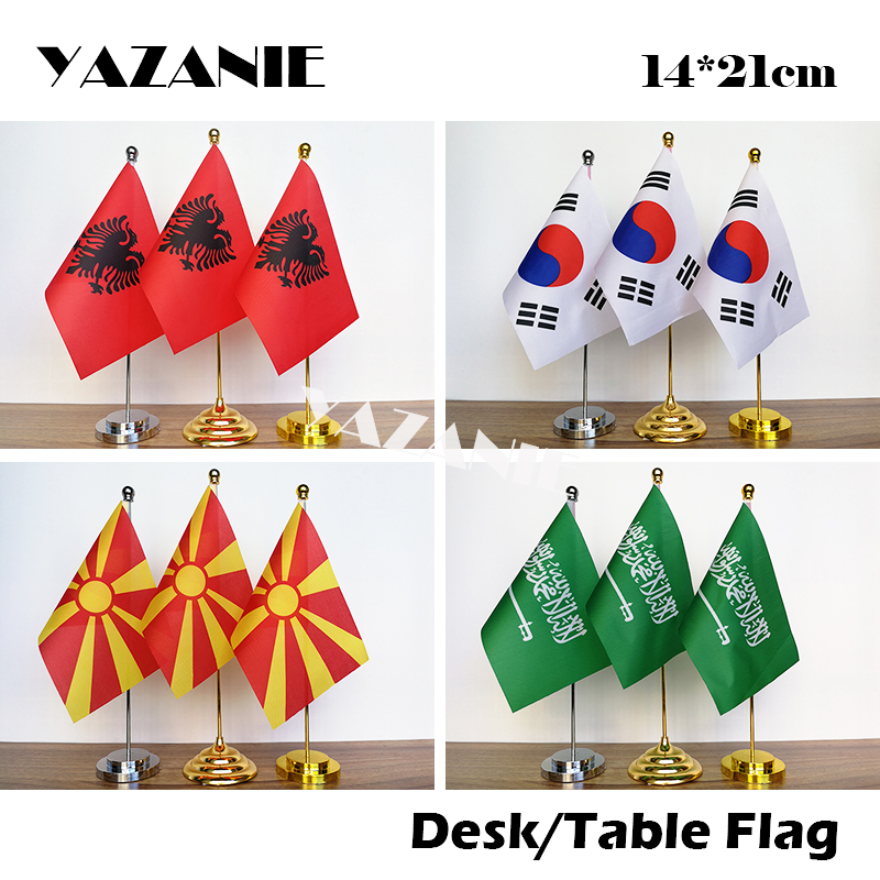 "India Miniature Fabric Hand Held Table Top Desk Flag Polyester 4/"" x 6/"""