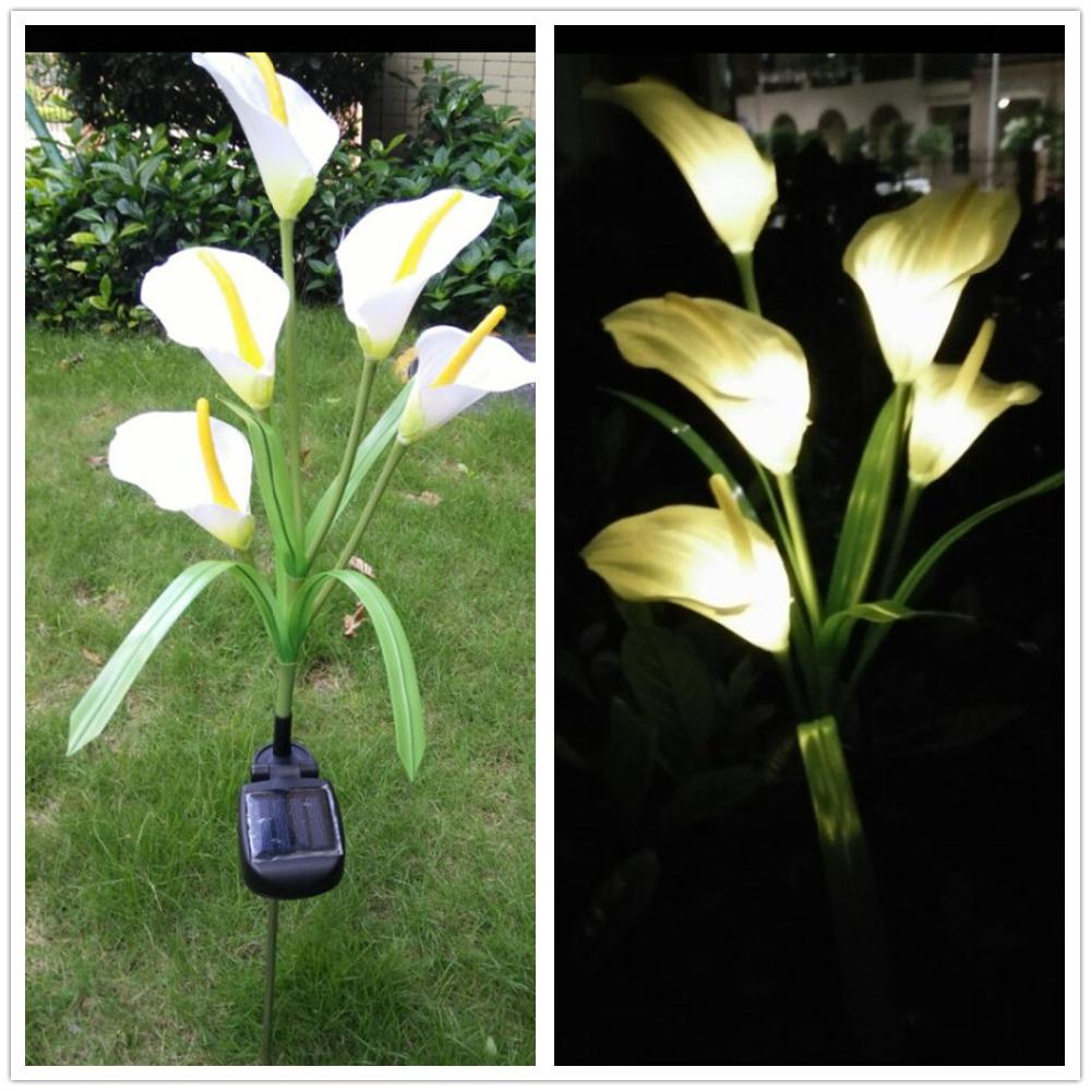1Pcs Calla Lily Flower Solar-Powered 5 LEDs Pin Lamp Night Light Warm White Light For Yard Garden Wedding Decoration