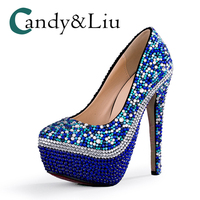 Blue Pearl Wedding Shoes Large Size Slip on Round Toe Super High Heel Women Pumps with Platform for Party Banquet Evening Dress