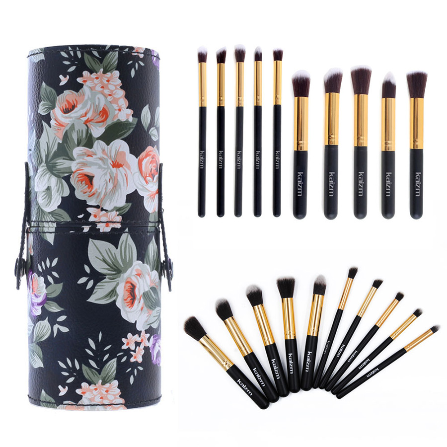 Professional 10 Pcs Makeup Brushes Sets Beauty Cosmetic Eyeliner Blush Brush Beauty Tool with Flower Printing Leather Cup 7pcs makeup brushes professional fashion mermaid makeup brush synthetic hair eyebrow eyeliner blush cosmetic