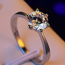 Classic Six Claw Gold Color Ring AAA Austria Crystal Wedding Ring for Bridal Christmas Gift for Women Jewelry Engagement Ring
