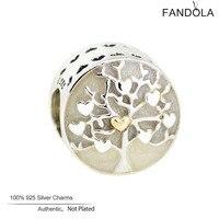 Emalia Europejskie Charm 925 Sterling Silver Tree of Hearts Koraliki do Tworzenia Biżuterii Pasuje Kobieta Bransoletki Charms Biżuteria Berloque