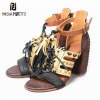 Prova Perfetto 2018 богемные плетеные сандалии на каблуке Mujer кисточки заклепки открытый носок Гладиатор обувь ремешок на щиколотке очаровательный