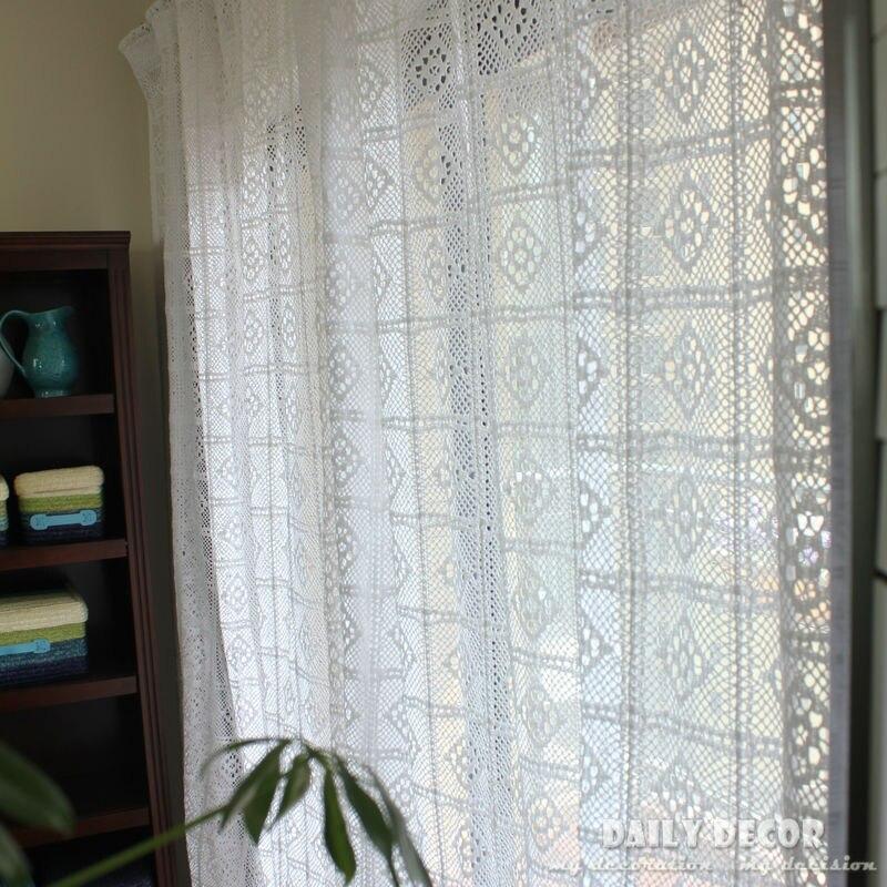 Fini! 240*250 cm d'Angleterre blanc fait à la main crochet/crochet aiguille rideaux Las cortinas Rideau Le tende Der vorhang cortina