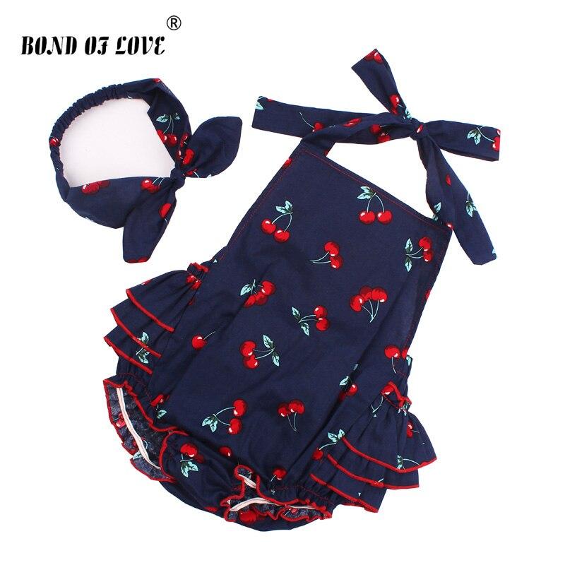 Комбинезон из хлопка для маленьких девочек, комплект с повязкой на голову без рукавов для малышей, комбинезон с рюшами и рисунком вишни, одежда для фотосессии YC053, 2019