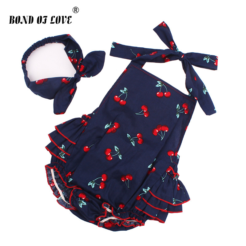 2018 Cotton Baby Girl Rompers Headband Set Sleeveless Toddler Ruffled Cherry pattern Romper Photography Props Clothes YC053