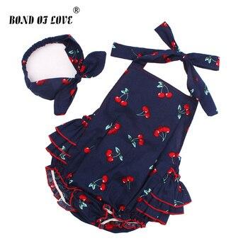 2019 bawełna dziewczynka pajacyki pałąk zestaw bez rękawów maluch potargane Cherry wzór Romper fotografia rekwizyty ubrania YC053