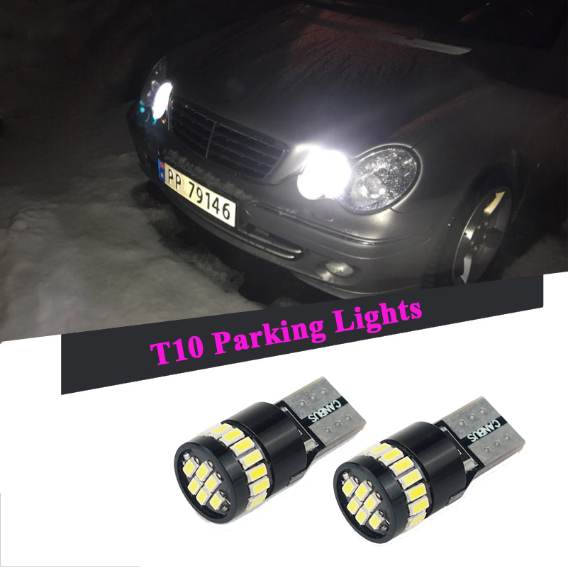 2pcs Canbus T10 W5W 168 194 LED Clearance Parking Lights For Mercedes Benz W211 W221 W220 W163 W164 W203 C E SLK GLK CLS M GL for mercedes benz w202 w220 w204 w203 w210 w124 w211 w222 x204 w164 t10 w5w 24 led 4014smd parking lights sidelight no error