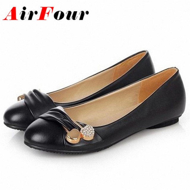 AirFour Women Fashion Flat Shoes Large Size 34-47 Female Ballet Shoes Women Flats Casual Dating Metal Decorative Shoes Women