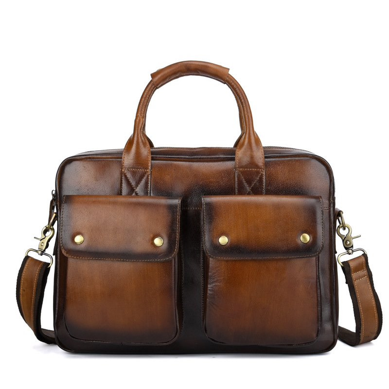 New Luxury 100% Cow Genuine Leather Business Men's Briefcase Male Shoulder Bag Real Leather Vintage Messenger Tote Computer Bag