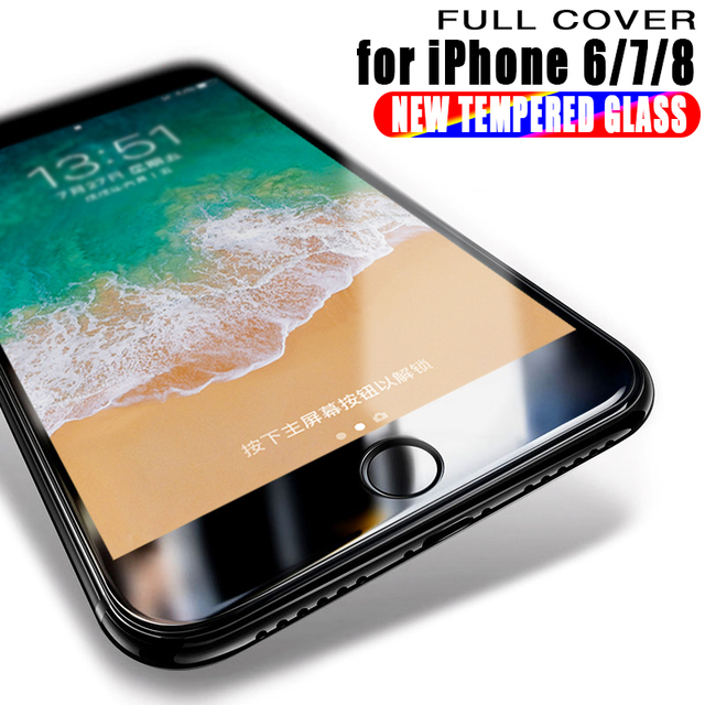 Full Coverage 6D Tempered Glass For iPhone 7 8 6 Plus Screen Protector Cover For iPhone 6 6S 8 7 PLUS Film Protection Glass