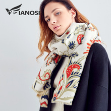 [VIANOSI] Winter Scarf Women Newest Design Printing Hijab Fashion Bandana Wool Shawls Thicken Warm Scarves