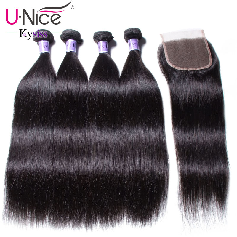 UNice Hair Kysiss Series Brazilian Straight Hair 4 Bundles With Closure 8 30 Inch 100 Virgin