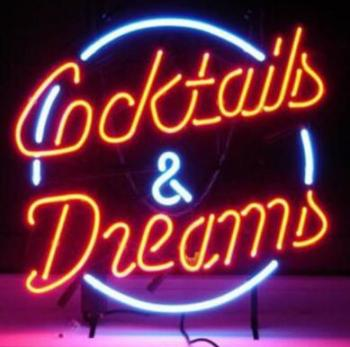 COCKTAILS AND DREAMS Glass Neon Light Sign