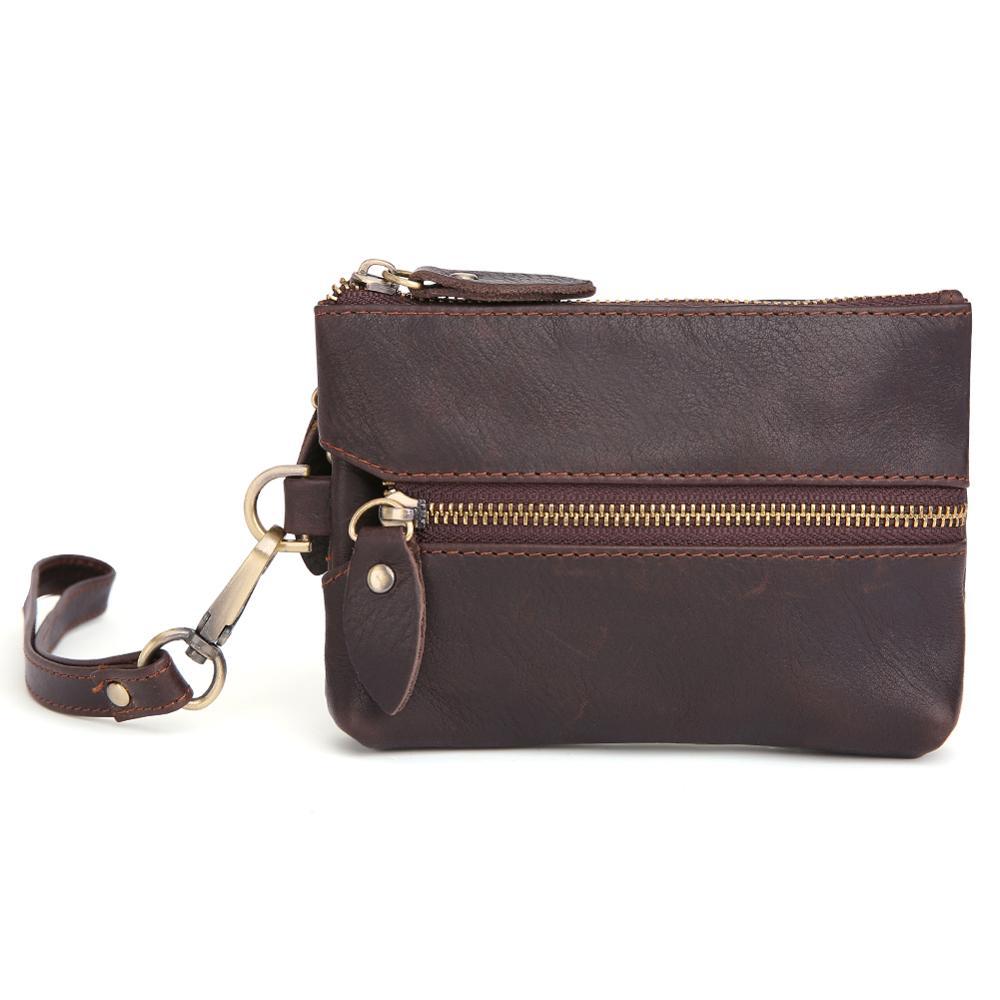 New arrival Genuine Leather Car Key Wallets Men Key Holder Housekeeper Keys Organizer Women Keychain Covers Zipper Key Case Bag in Key Wallets from Luggage Bags