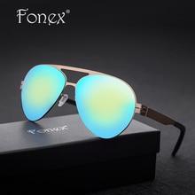 FONEX No Screw Germany My Style Women Aviation Sunglasses Men Brand Designer Aviador Memory Sun Glasses Screwless Eyewear 88059