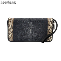 Leeshang 2017 New Stingray Skin Purse Womens Wristlet Wallets Women Wallets Genuine Leather Zipper Wristlet Clutch Wallet